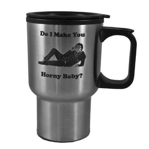 14oz Do I Make You Horny Baby? Austin Powers Stainless Steel Travel Mug W/Handle L1]()