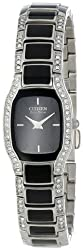 Citizen Women's EW9780-57E Eco-Drive Normandie Stainless Steel and Black Watch with Swarovski Crystals