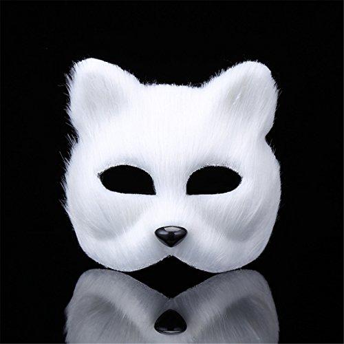 RANDER Halloween Animal Vizard Mask glyptostrobus Men and Women Half Face Props Short Hair Cute Fox (Star Fox Costume Halloween)