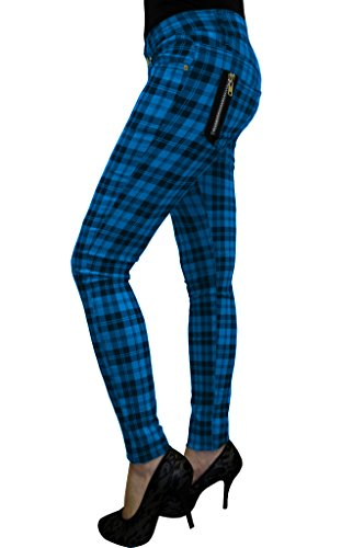 Banned Punk Rock Funky Plaid Check Skinny Jeans (M-30, Blue)