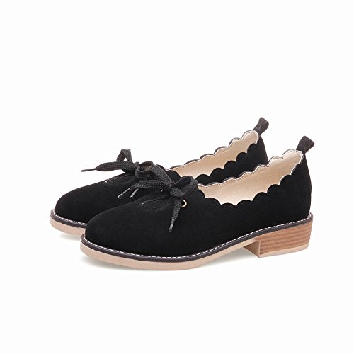 Carolbar Women's New Style Sweet Mid Heel Nubuck Casual Court Shoes Black Cbe6X2