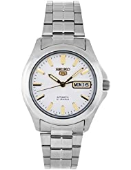 Seiko Mens SNKK89 Stainless Steel Analog with White Dial Watch