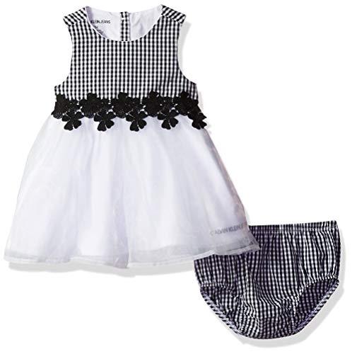 Calvin Klein Baby Girls 2 Pieces Dress Set, Black/White, 3-6 Months