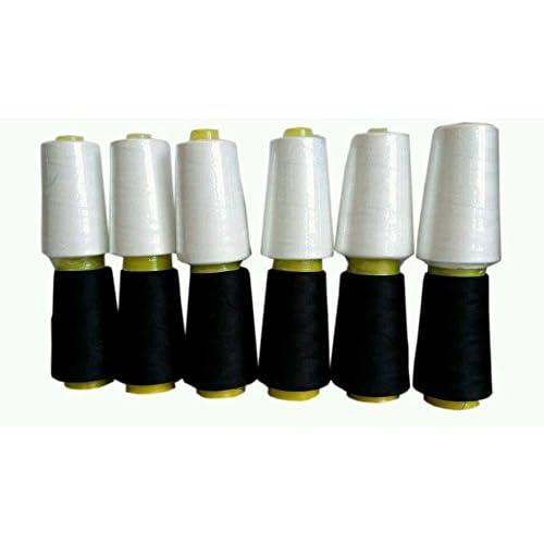 Lot de 6rouleaux de fil à coudre noir et blanc de 3657,6m pour machines à coudre surjeteuse