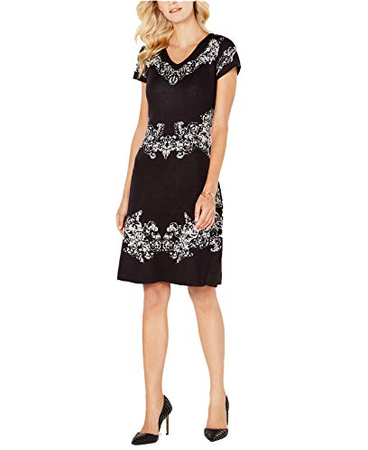 - NY Collection Women's Petite Intarsia Fit & Flare Sweater Dress (Black Combo, P/Small)