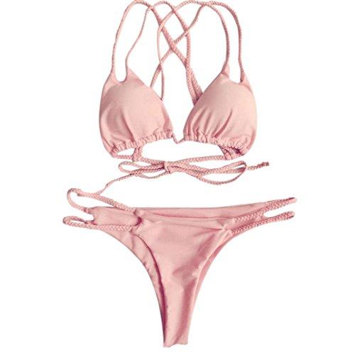 - one_Day 2018 Sexy Swimwear Women Push Up Padded Sling Top Brazilian Solid Bikini Set Beach Bathing Suit (M, Pink)