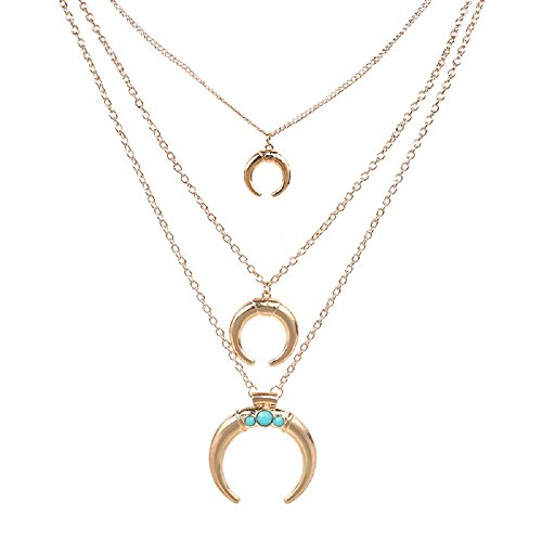 Three Drop Circle Pendant (ANNE & SOUL Vintage Women's Three Layers Chains Tassel Circle Opening Pendant Long Drop Necklace (Gold))