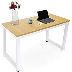 Computer Office Desk Easy Assembly Modern Simple Style Dining Table Study Writing Desk for Home and Professional Use (Metal Light White Natural)