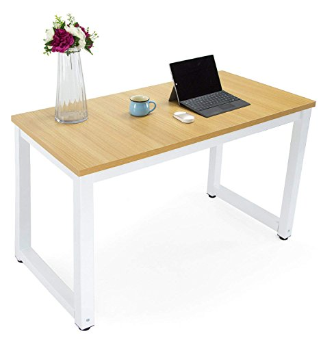 Computer Office Desk Easy Assembly Modern Simple Style Dining Table Study Writing Desk for Home and Professional Use (Metal Light White Natural) by S&Cortile