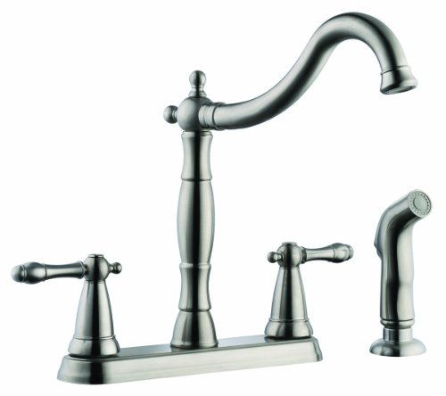 (Design House 523241 Oakmont 2-Handle Kitchen Faucet with Side Sprayer, Satin Nickel Finish)