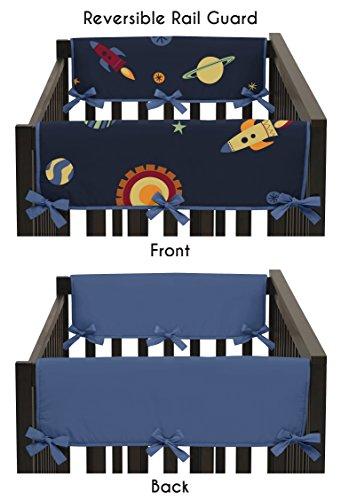 Sweet Jojo Designs 2-Piece Space Galaxy Rocket Ship Galatic Planets Teething Protector Cover Wrap Baby Crib Side Rail Guards