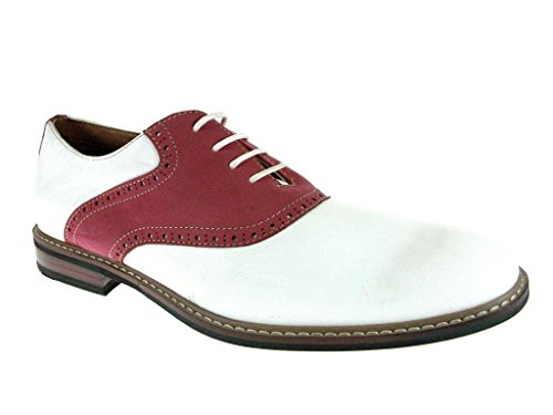 Ferro Aldo Men's 19268A Two Tone Saddle Oxfords, White Red, 9