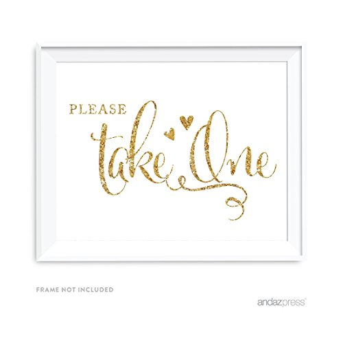 Andaz Press Wedding Party Signs, Glam Gold Glitter Print, 8.5-inch x 11-inch, Please Take One, 1-Pack