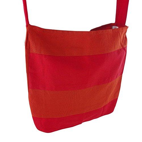inhoma Borsa da spiaggia Borsa a tracolla borsa a spalla in stile tote bag       Arancione Rosso   Tote Bag stile   130cm lunga tracolla   45x 40cm   12litri   inhoma24WOW Shopper   100% cotone  
