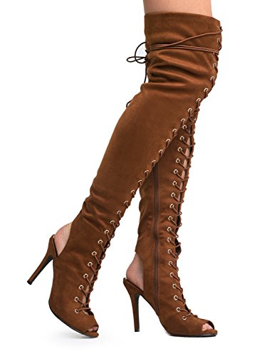 Breckelle's Womens Randi-23 Faux Suede Lace up Back Thigh High Boots Tan