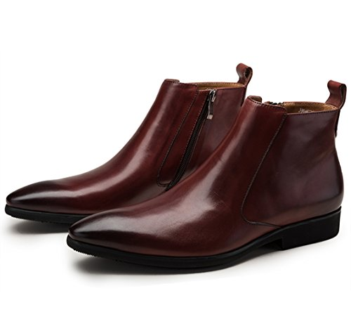 Side Leather Chelsea Insun Pointy Mens Leather Boots Insun Zip Burgundy Pointy Mens qT0wRX