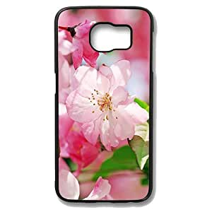 Samsung Galaxy S6 Case - Begonia Flowers Protective Case Soft Flexible TPU Skin Scratch-Proof Case for Samsung Galaxy S6 Black