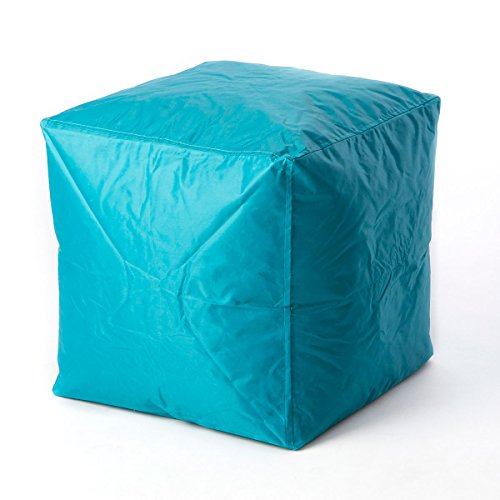Bean Bag Cube Ottoman Footstool (Aqua Blue) | | Nylon Fabric - Hand Filled in The USA | 16 x 16 x 16 inches |