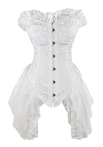 (Charmian Women's Sexy Strapless Floral Embroidery Mesh Princess Gothic Vintage Bustier Corset with Lace Skirt White XX-Large)