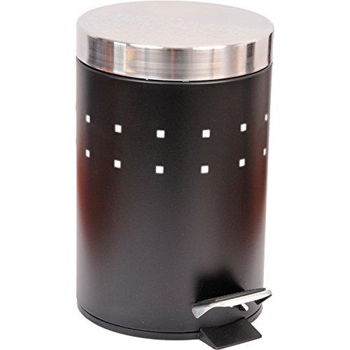 EVIDECO 6502103 Round Perforated Metal Bathroom Floor Step Trash Can Waste Bin 3-liters/0.8-gal- Stainless Steel Cover Color Black