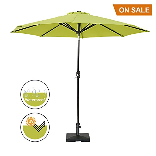 SUMBEL Patio Umbrella 9 Ft Aluminum Outdoor Table Market Umbrella With Push Button Tilt and Crank 8 Ribs, Lime Green