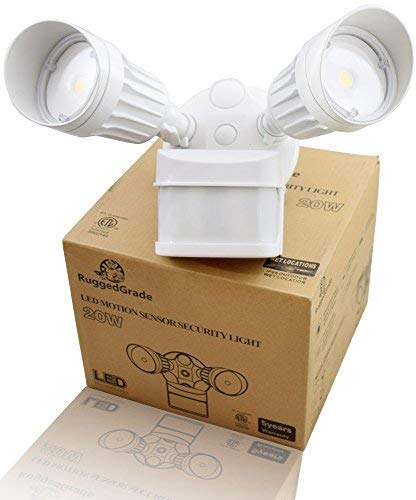 20 Watt LED Motion Sensor Flood Light – White Color - 1,750 Lumen – Super Wide 240 Degree Motion Sensor Angle – 3000K Warm White – 20 Yr LED - Floodlight Wall Light with Motion Sensor