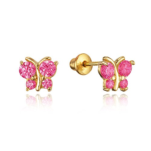14k Gold Plated Brass Red Butterfly Cubic Zirconia Screwback Girls Earrings with Silver Post (Childrens Butterfly Earrings)