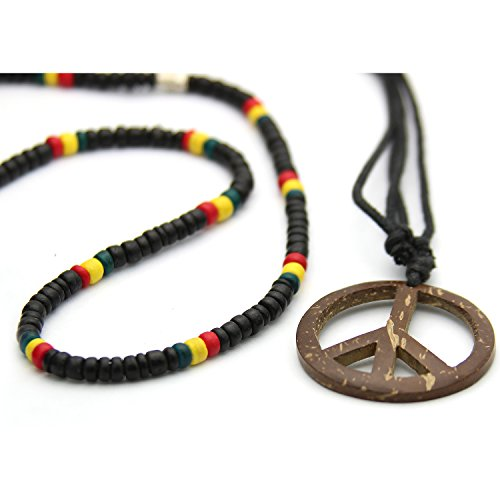Buy 1 Get 1 - Wooden Beaded Rasta Necklace, Black, Red, Yellow and Green, Adjustable cord Necklace, Coconut Peace Sign Pendant