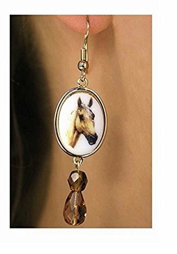 Polished Gold Tone Palomino Colored Horse Earrings by Lonestar Jewelry