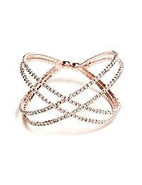 G by GUESS Women's Rose Gold-Tone Flexi X Cuff Bracelet