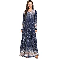 HomeMals Women Long Sleeve Casual Maxi Dress Muslim Dress for Women Islamic Arabian Woman Clothing Kaftan Abaya Long Dress Navy