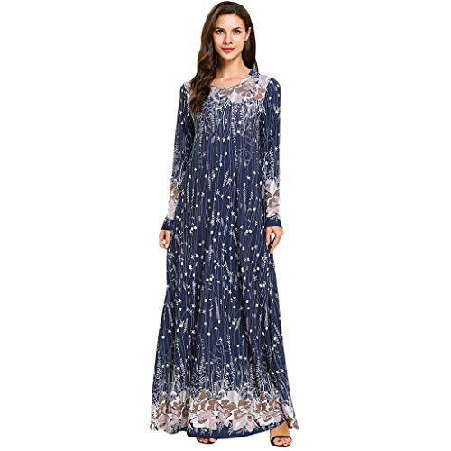 HYIRI Women's National Noble Comfortable Muslim Middle Eastern Long Dress Navy]()