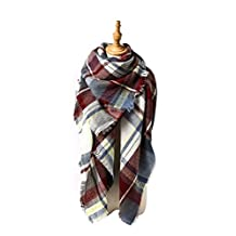 Spring fever Unisex Plaid Soft Warm Blanket Tartan Scarf Large Wrap Shawl