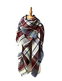 Spring fever Unisex Plaid Soft Warm Blanket Tartan Scarf Large Wrap Shawl