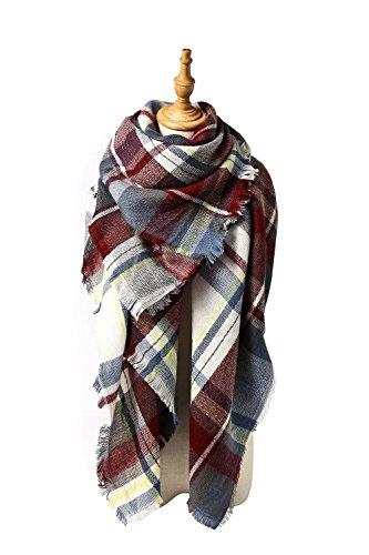 Menglihua Soft Classic Plaid Tartan Cashmere Feel Large Blanket Scarf Wrap Shawl F Charm