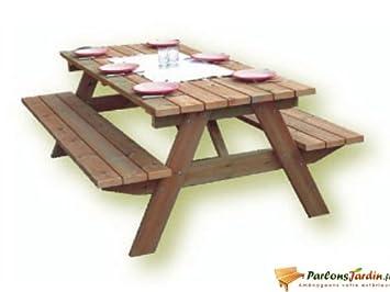Table de pique nique en bois Forestière 2m: Amazon.fr ...