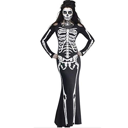Plus Size 2XL Halloween Dress Skeleton Print Scary Horror Costumes Play Ghost Clothes Strech Party Cosplay Long Dress H6,Black,M,China]()