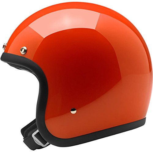 Biltwell Unisex-Adult Open-Face-Helmet-Style Gloss Hazard Bonanza 3/4 Open-Face DOT Helmet (Orange, (Dot 3/4 Helmet)
