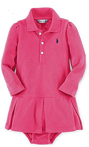 Ralph Lauren Baby Girls' Pleated Polo Dress & Bloomer (3 Months, Active Pink)