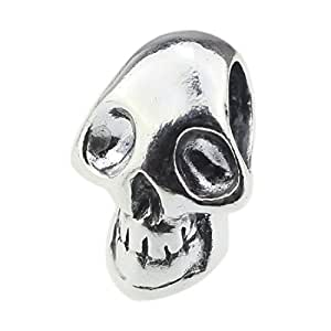BEADS HUNTER Skeleton Skull Head .925 Sterling Silver Charm Fashion Jewelry