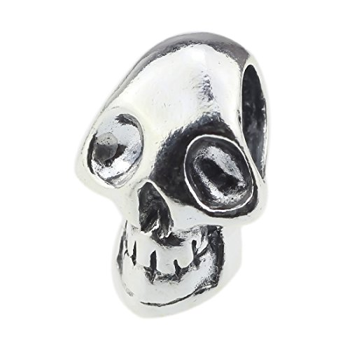 BEADS HUNTER Skeleton Skull Head .925 Sterling Silver Charm Fashion -