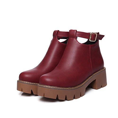 AgooLar Damen Blend-Materialien Mittler Absatz Rund Zehe Rein Reißverschluss Stiefel Weinrot