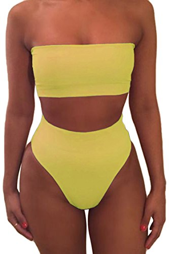 Pink Queen Women's Removable Strap Pad High Waist Bikini Set Swimsuit Yellow L