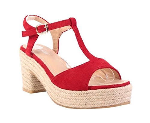 Womens Ladies Faux Suede T-Bar Ankle Strap Espadrille Low Block Heel Open Toe Slingback Sandals Shoes - O88 Red D51Gp3