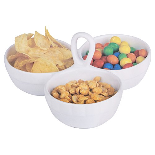 Tish White Porcelain Snack Dish Condiment Serving Tray- 3 Or 4 Section (3 Sections) ()