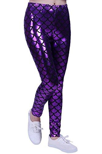 (MA Online Limited New Kids Mermaid Fish Scale Print Slim Fit Shiny Disco Metallic Leggings Pants Legging Purple 7-8)