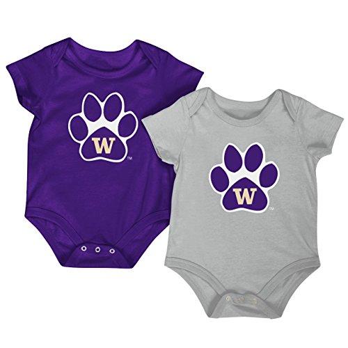Colosseum NCAA Short Sleeve Bodysuit 2-Pack-Newborn and Infant Sizes-Washington Huskies-3-6 Months