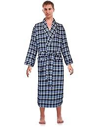 Classical Sleepwear Mens 100% Cotton Flannel Shawl Collar Robe,