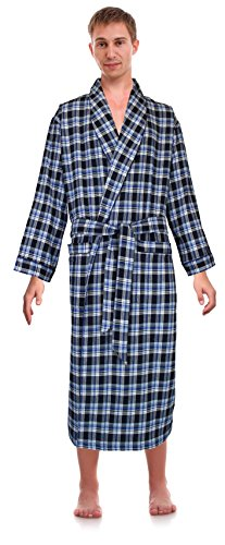 (Robes King Classical Sleepwear Men's 100% Cotton Flannel Shawl Collar Robe, Size Large Extra Large Blue)
