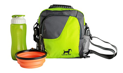 Dog Walking Bag Comes with Collapsible Bowl and Water Bottle Converts to Cross Body Body or Waist Pack. Perfect for Travel, Dog Parks, Hiking, Training. Camping Beach, Perfect Dog Lover Gift (Green) (Best Training For Hiking)